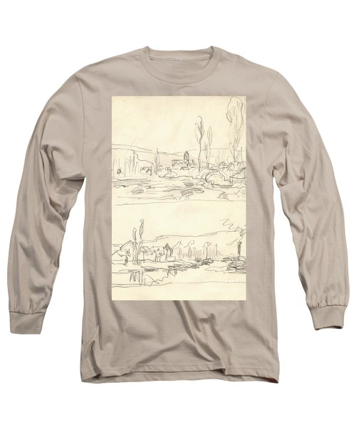 Vetheuil Seen From The Ile Saint Martin, Tugboat On River Seine Facing Lavacourt Long Sleeve T-Shirt