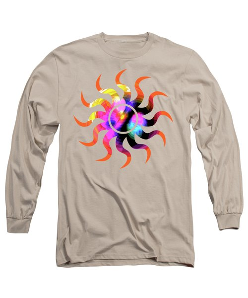 Vibrant Circle On Orange Long Sleeve T-Shirt by Judi Suni Hall