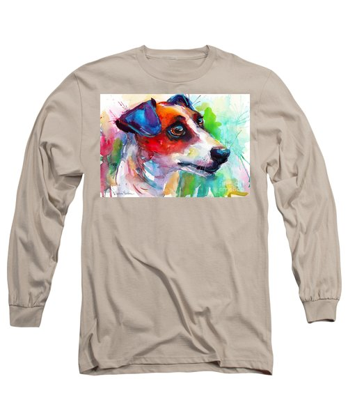 Vibrant Jack Russell Terrier Dog Long Sleeve T-Shirt by Svetlana Novikova