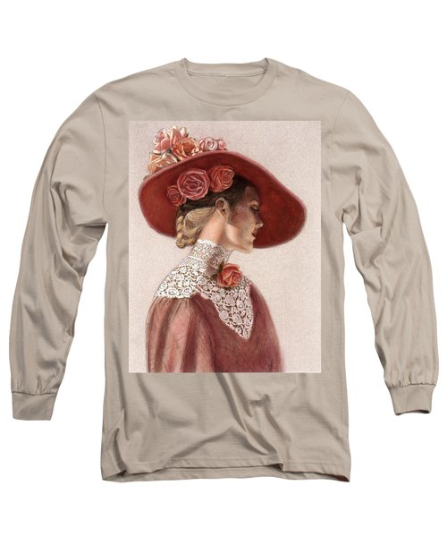 Victorian Lady In A Rose Hat Long Sleeve T-Shirt