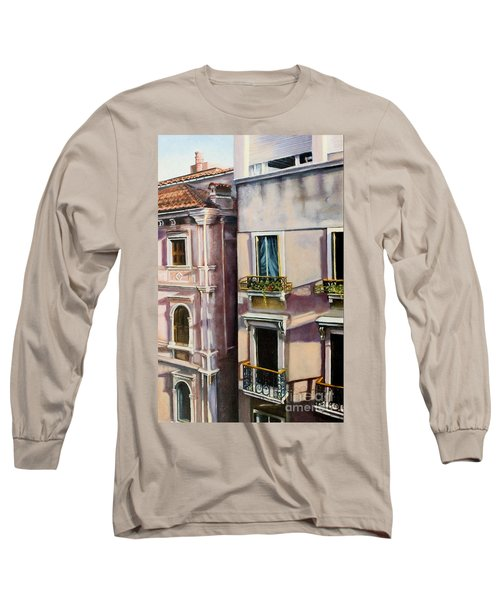 Long Sleeve T-Shirt featuring the painting View From A Venetian Window by Marlene Book