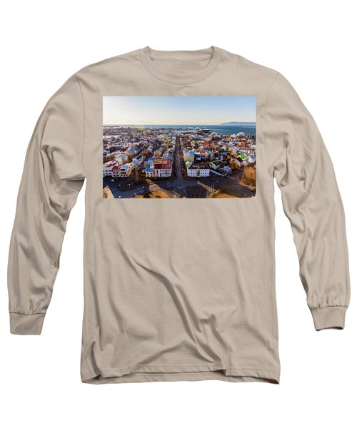 View From Hallgrimskirka Long Sleeve T-Shirt by Wade Courtney