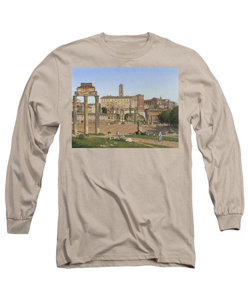 View Of The Forum In Rome Long Sleeve T-Shirt by Christoffer Wilhelm Eckersberg