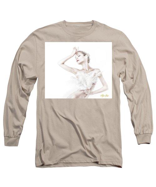 Viktory In White - Feathered Long Sleeve T-Shirt by Rikk Flohr
