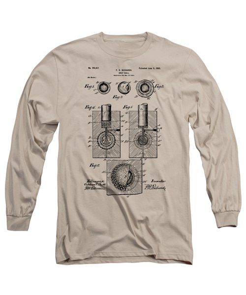 Vintage 1902 Golf Ball Patent Artwork Long Sleeve T-Shirt by Nikki Marie Smith