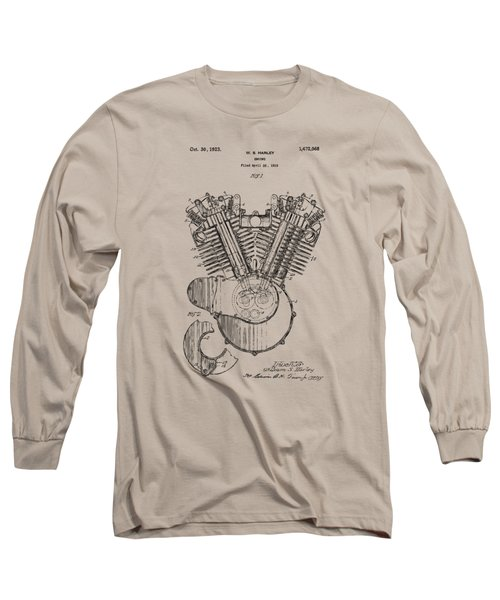 Vintage 1923 Harley Engine Patent Artwork Long Sleeve T-Shirt
