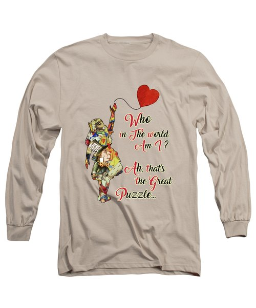 Vintage Alice In Wonderland Collage Who In The World Am I Quote Long Sleeve T-Shirt