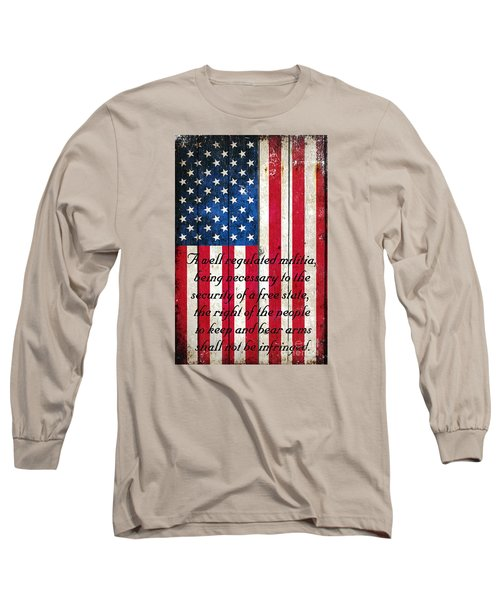 Vintage American Flag And 2nd Amendment On Old Wood Planks Long Sleeve T-Shirt by M L C