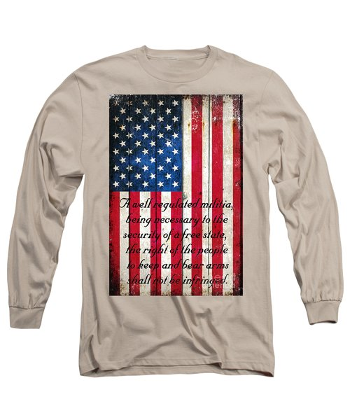 Vintage American Flag And 2nd Amendment On Old Wood Planks Long Sleeve T-Shirt