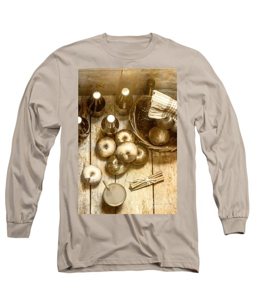 Vintage Apple Cider On Wood Crate Long Sleeve T-Shirt