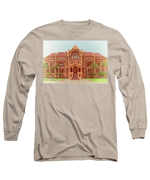 Vintage Architectural Photograph Of Ashbel Smith Old Red Building At Utmb - Downtown Galveston Texas Long Sleeve T-Shirt