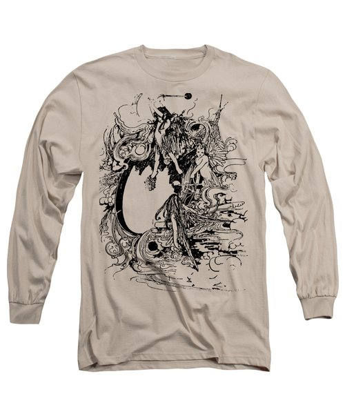Vintage Fairies Magic Illustration Antique Ink Artwork Dictionary Book Page Art  Long Sleeve T-Shirt by Jacob Kuch