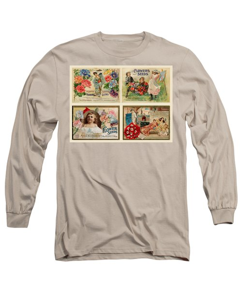 Vintage Flower Seed Packets Long Sleeve T-Shirt by Peggy Collins