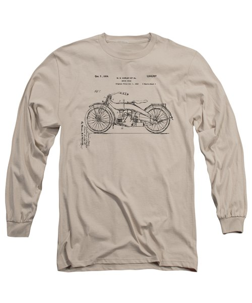 Vintage Harley-davidson Motorcycle 1924 Patent Artwork Long Sleeve T-Shirt by Nikki Smith