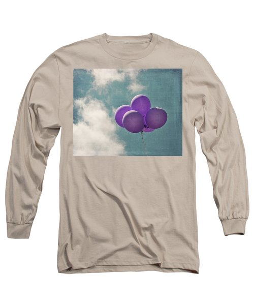 Vintage Inspired Purple Balloons In Blue Sky Long Sleeve T-Shirt by Brooke T Ryan