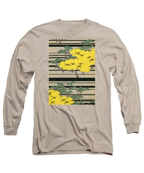 Vintage Japanese Illustration Of An Abstract Forest Landscape With Flying Cranes Long Sleeve T-Shirt by Japanese School