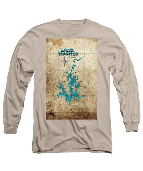 Vintage Map - Lake Martin Al Long Sleeve T-Shirt by Greg Sharpe