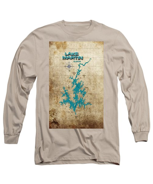 Vintage Map - Lake Martin Al Long Sleeve T-Shirt