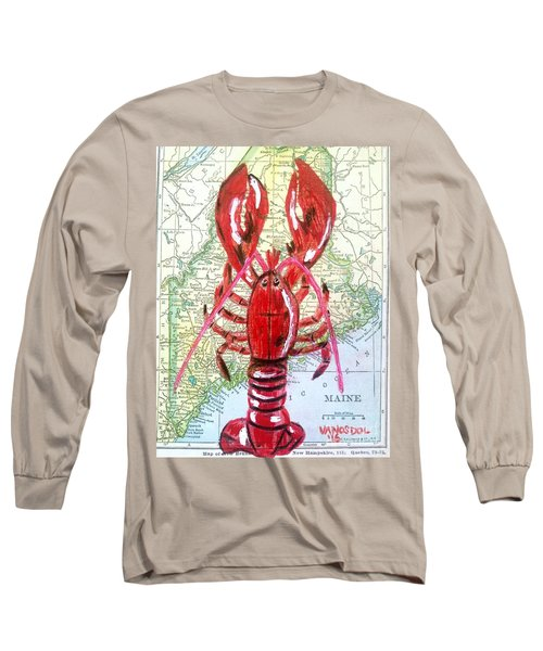 Vintage Map Maine Red Lobster Long Sleeve T-Shirt