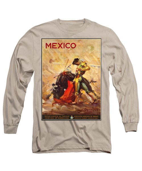 Vintage Mexico Bullfight Travel Poster Long Sleeve T-Shirt by George Pedro