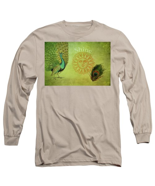 Long Sleeve T-Shirt featuring the digital art Vintage Peacock Art by Peggy Collins