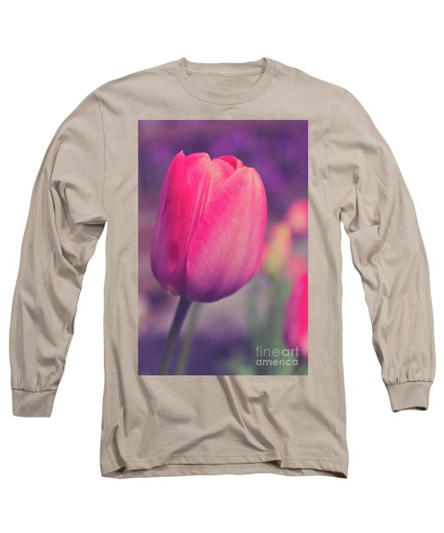 Long Sleeve T-Shirt featuring the photograph Vintage Red Tulip Flower by Edward Fielding