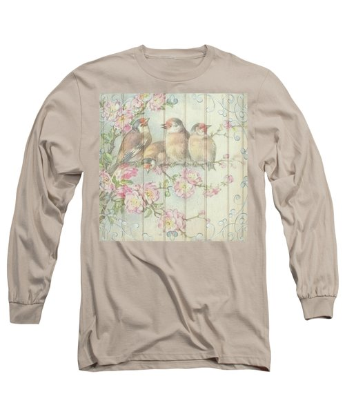 Vintage Shabby Chic Floral Faded Birds Design Long Sleeve T-Shirt