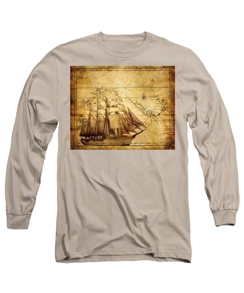 Vintage Ship Map Long Sleeve T-Shirt