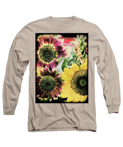 Vintage Sunflowers Long Sleeve T-Shirt by Karen Lewis