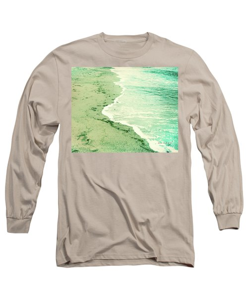 Vintage Waves In Yellow And Blue Long Sleeve T-Shirt
