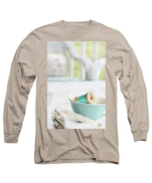 Vintage Wooden Spools Of Thread In Vintage Tea Cup Long Sleeve T-Shirt