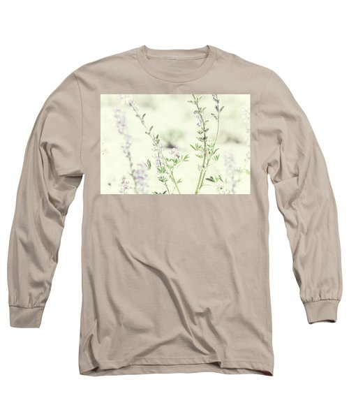 Violet And Green Bloom Long Sleeve T-Shirt by Amyn Nasser