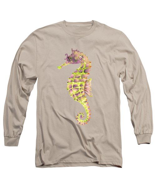 Violet Green Seahorse - Square Long Sleeve T-Shirt by Amy Kirkpatrick