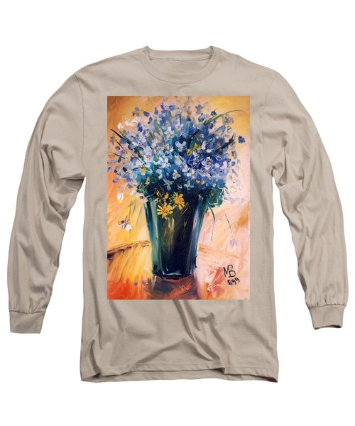 Long Sleeve T-Shirt featuring the painting Violets by Mikhail Zarovny