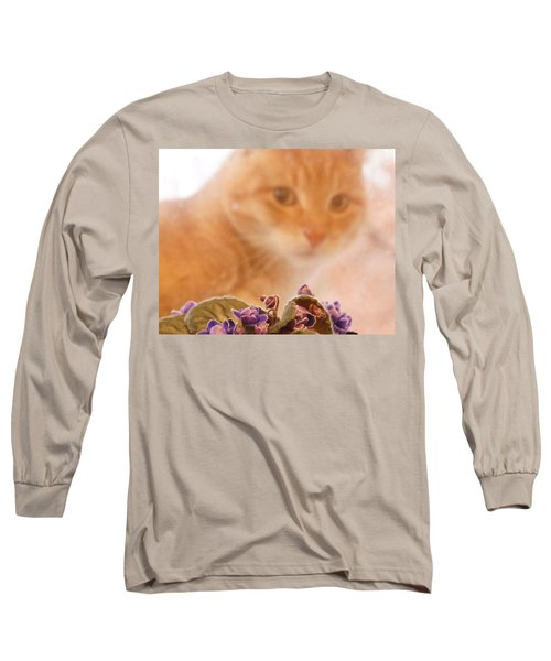 Violets With Cat Long Sleeve T-Shirt
