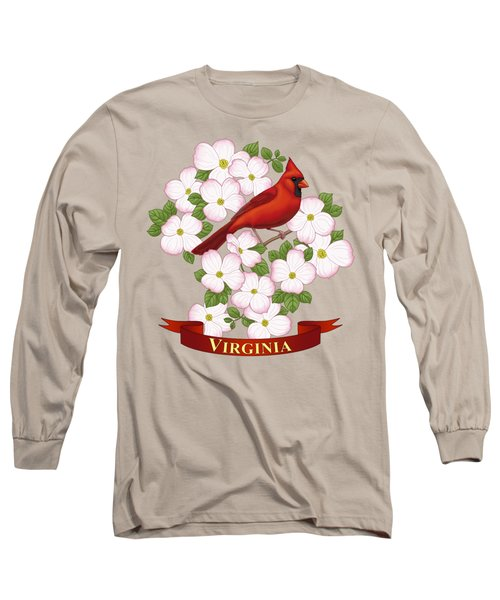 Virginia State Bird Cardinal And Flowering Dogwood Long Sleeve T-Shirt