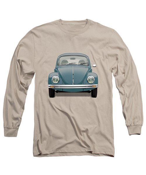Long Sleeve T-Shirt featuring the digital art Volkswagen Type 1 - Blue Volkswagen Beetle On Yellow Canvas by Serge Averbukh