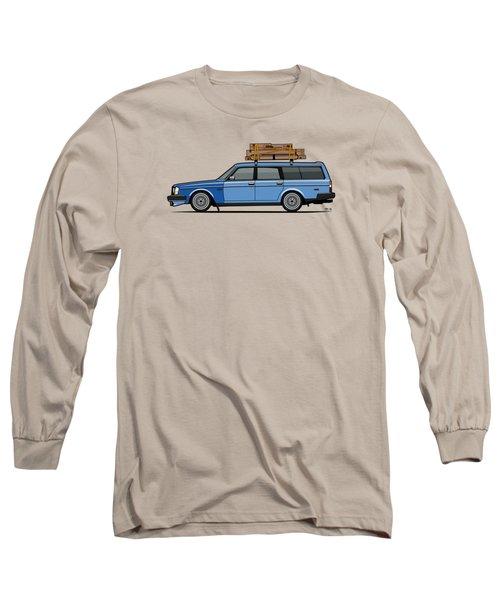 Volvo 245 Brick Wagon 200 Series Blue Shopping Wagon Long Sleeve T-Shirt