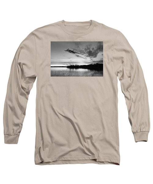 Long Sleeve T-Shirt featuring the digital art Vulcan Low Over A Sunset Lake Sunset Lake Bw by Gary Eason