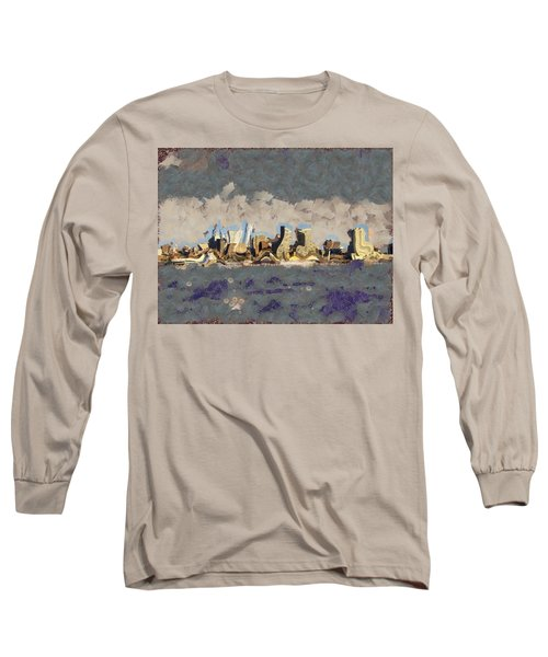 Long Sleeve T-Shirt featuring the mixed media Wacky Philly Skyline by Trish Tritz