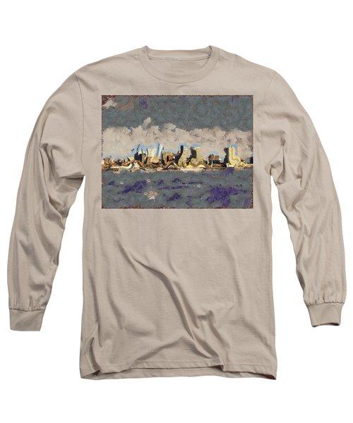 Wacky Philly Skyline Long Sleeve T-Shirt by Trish Tritz