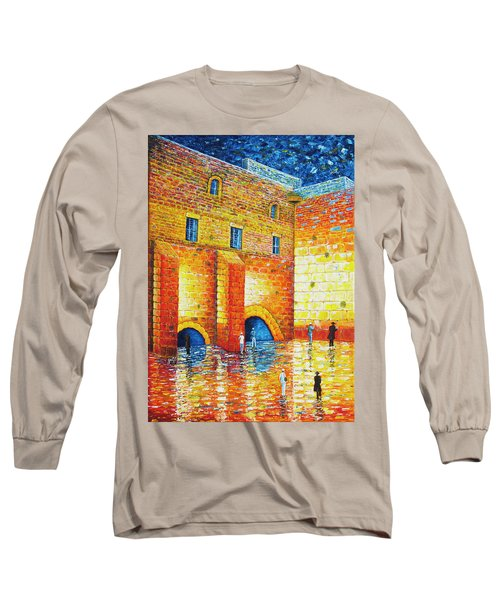 Long Sleeve T-Shirt featuring the painting Wailing Wall Original Palette Knife Painting by Georgeta Blanaru