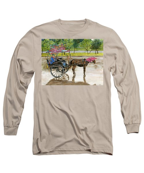 Long Sleeve T-Shirt featuring the painting Waiting For Rider Jakarta Indonesia by Melly Terpening