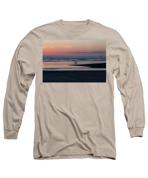 Walking Dogs On The Beach Long Sleeve T-Shirt