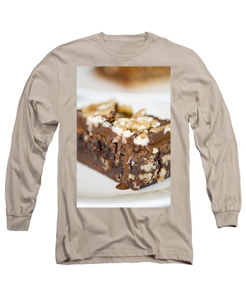 Walnut Brownie On A White Plate Long Sleeve T-Shirt by Ulrich Schade