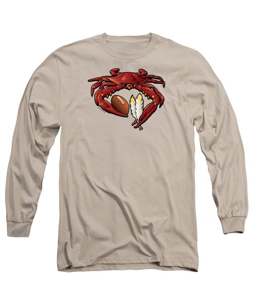 Washington Red Crab Football Crest Long Sleeve T-Shirt