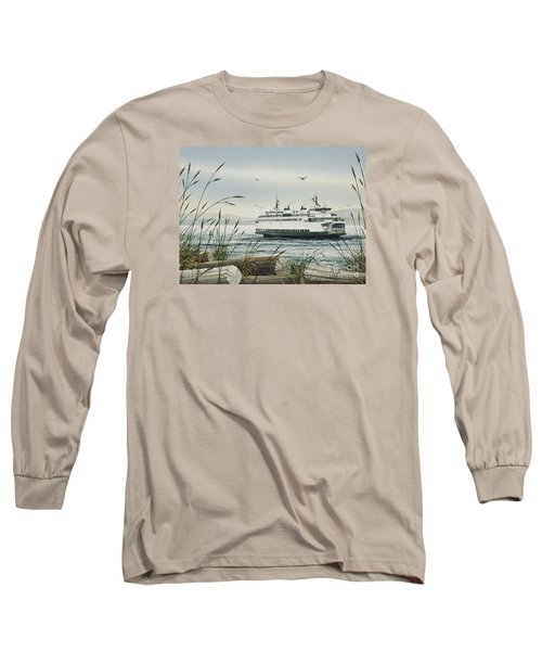 Washington State Ferry Long Sleeve T-Shirt by James Williamson
