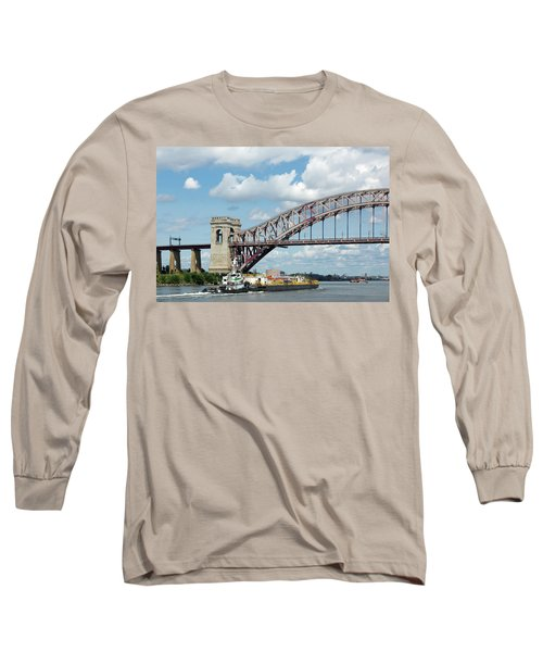 Hell Gate Bridge And Barge Long Sleeve T-Shirt