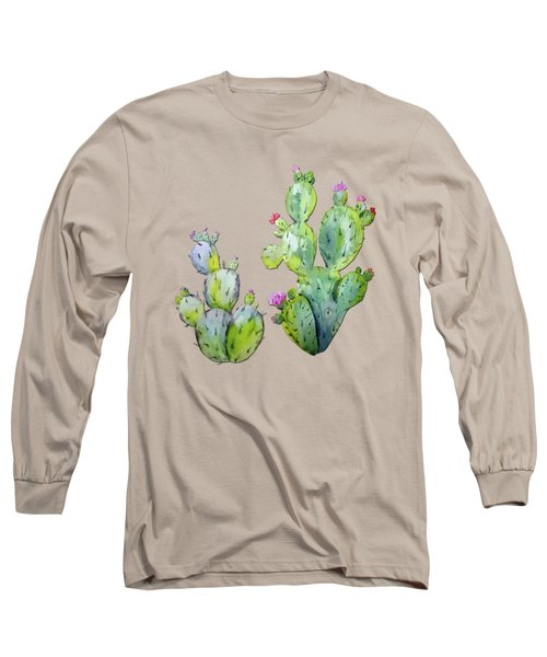 Water Color Prickly Pear Cactus Adobe Background Long Sleeve T-Shirt