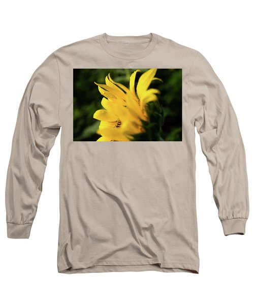 Water Drops And Sunflower Petals Long Sleeve T-Shirt
